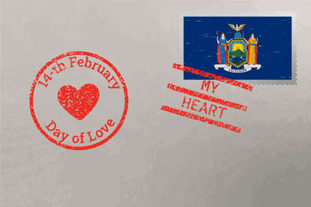 Postage stamp envelope with New York USA flag and Valentine s Day stamps, vector