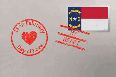 Postage stamp envelope with North Carolina USA flag and Valentine s Day stamps, vector