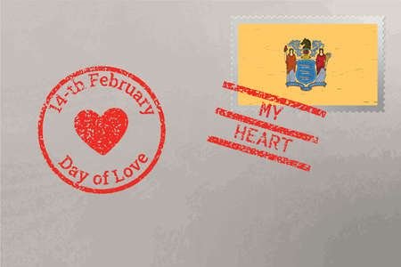 Postage stamp envelope with New Jersey USA flag and Valentine s Day stamps, vector 免版税图像