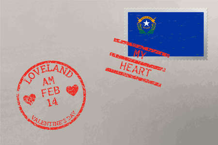 Postage stamp envelope with Nevada USA flag and Valentine s Day stamps, vector 免版税图像