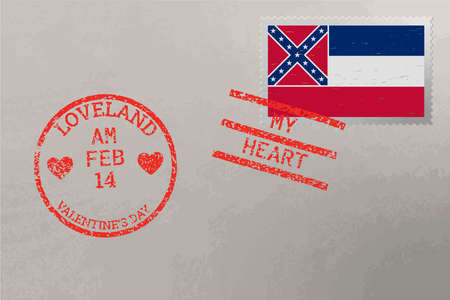 Postage stamp envelope with Mississippi USA flag and Valentine s Day stamps, vector