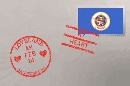 Postage stamp envelope with Minnesota USA flag and Valentine s Day stamps, vector 免版税图像