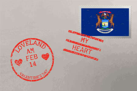Postage stamp envelope with Michigan USA flag and Valentine s Day stamps, vector 免版税图像