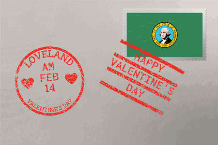 Postage stamp envelope with Washington USA flag and Valentine s Day stamps, vector