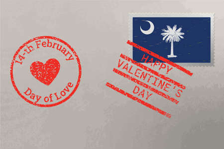 Postage stamp envelope with South Carolina USA flag and Valentine s Day stamps, vector 免版税图像