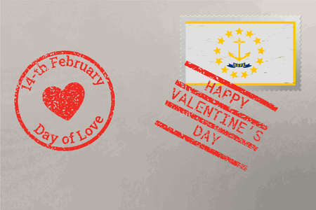 Postage stamp envelope with Rhode Island USA flag and Valentine s Day stamps, vector 免版税图像