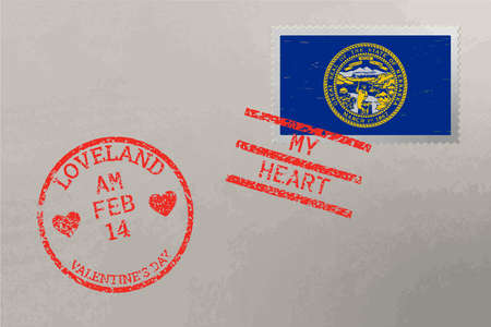 Postage stamp envelope with Nebraska USA flag and Valentine s Day stamps, vector