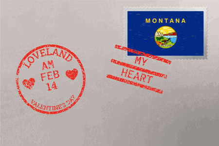 Postage stamp envelope with Montana USA flag and Valentine s Day stamps, vector