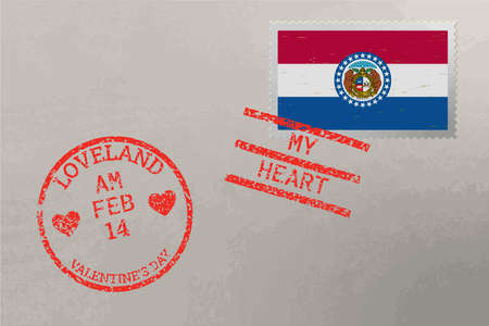 Postage stamp envelope with Missouri USA flag and Valentine s Day stamps, vector 免版税图像