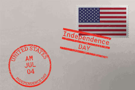 Postage stamp envelope with USA flag and 4-th July stamps, vector