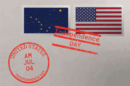 Postage stamp envelope with Alaska and USA flag and 4-th July stamps, vector 版權商用圖片