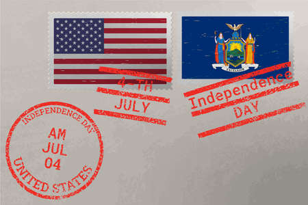 Postage stamp envelope with New York and USA flag and 4-th July stamps, vector