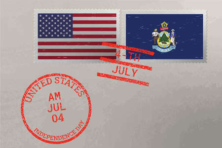 Postage stamp envelope with Maine and USA flag and 4-th July stamps, vector 版權商用圖片