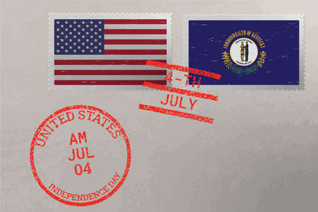 Postage stamp envelope with Kentucky and USA flag and 4-th July stamps, vector