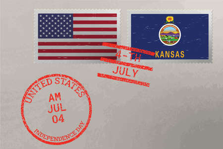Postage stamp envelope with Kansas and USA flag and 4-th July stamps, vector