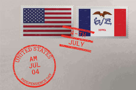 Postage stamp envelope with Iowa and USA flag and 4-th July stamps, vector