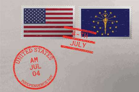 Postage stamp envelope with Indiana and USA flag and 4-th July stamps, vector