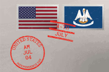 Postage stamp envelope with Louisiana and USA flag and 4-th July stamps, vector