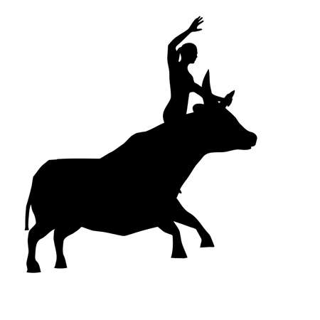 Black silhouette of a woman on a bull with a raised hand, on right vector image
