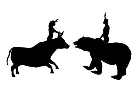 Black silhouettes of a woman on a bull and a man on a bear 2, vector