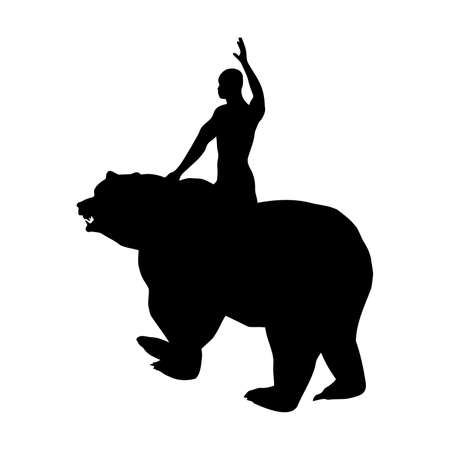 Black silhouette of a man on a bear 2, vector 矢量图像