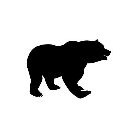 Black silhouette of a big bear, vector