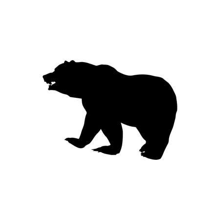Black silhouette of a big bear left, vector 矢量图像