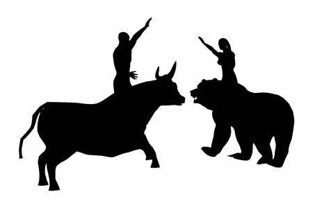 Black silhouettes of a woman on a bear and a man on a bull, vector 矢量图像