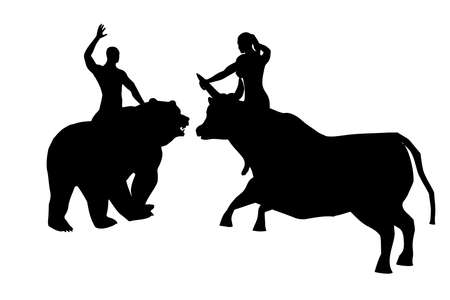 Black silhouettes of a woman on a bull and a man on a bear, vector
