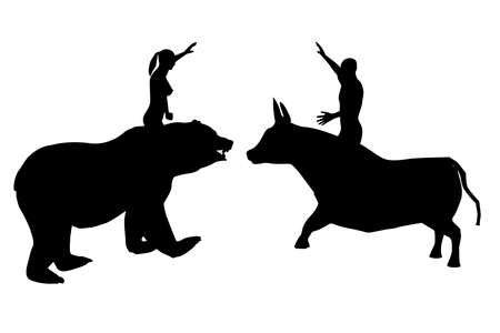 Black silhouettes of a woman on a bear and a man on a bull 2, vector