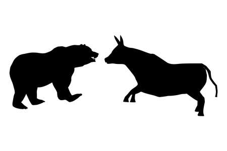 Black silhouettes of a bull and a bear opposite each other, vector 矢量图像