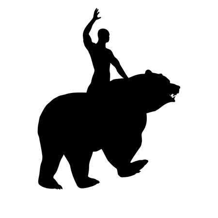 Black silhouette of a man on a bear, vector