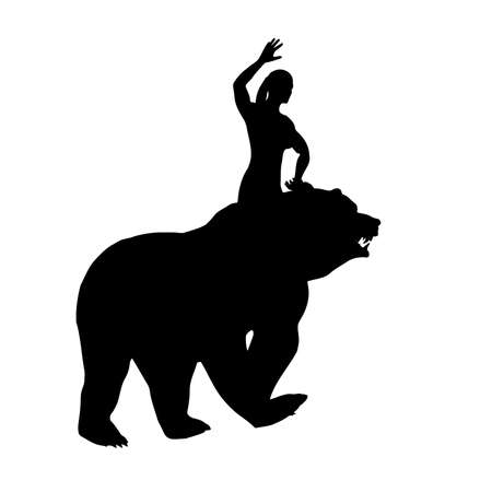 Black silhouette of a woman on a bear, vector