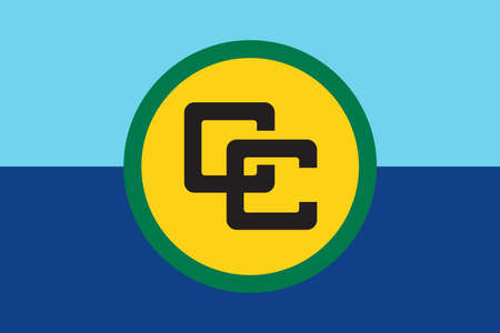 Caribbean Community flag in real proportions and colors, vector