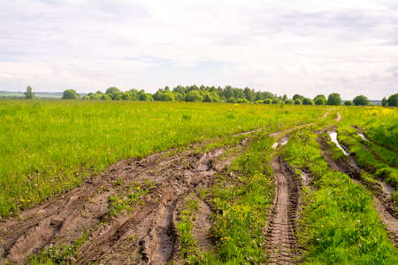 Blurred muddy road track after rain in the field, summer