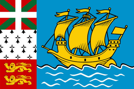 Saint Pierre and Miquelon flag in real proportions and colors, vector image