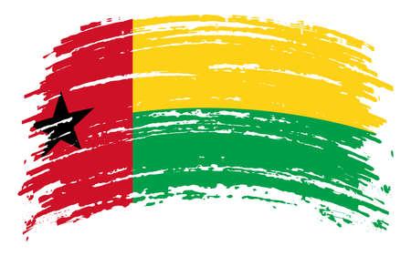 Guinea Bissau flag in grunge brush stroke, vector 矢量图像