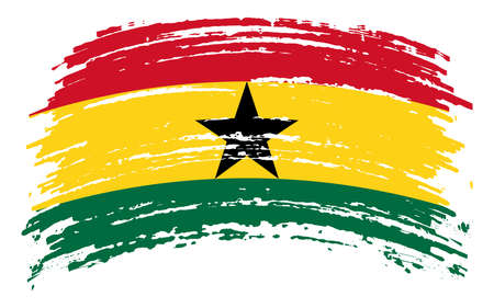 Ghana flag in grunge brush stroke, vector