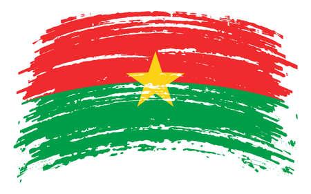 Burkina Faso flag in grunge brush stroke, vector 矢量图像