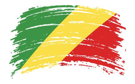 Republic of Congo flag in grunge brush stroke, vector