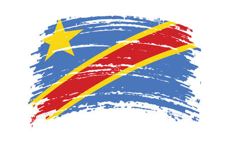 Democratic Republic of Congo flag in grunge brush stroke, vector