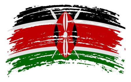 Kenya flag in grunge brush stroke, vector