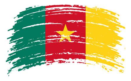 Cameroon flag in grunge brush stroke, vector