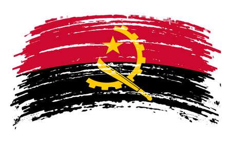Angola flag in grunge brush stroke, vector 矢量图像
