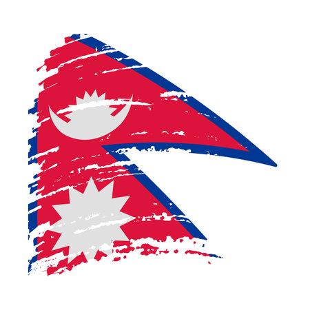 Nepal flag in grunge brush stroke, vector image