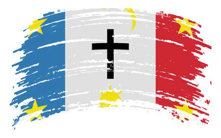 Pascua Yaqui Tribe flag in grunge brush stroke, vector image Ilustracja