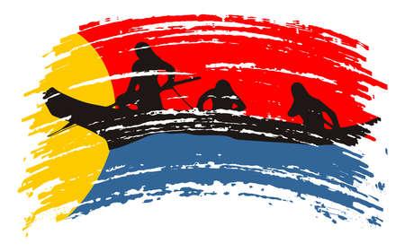 Clatsop flag in grunge brush stroke, vector Ilustracja