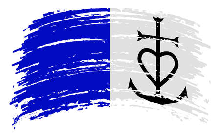 Principality of Aigues-Mortes flag in grunge brush stroke, vector