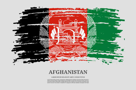Afghanistan flag with brush stroke effect and information text poster, vector