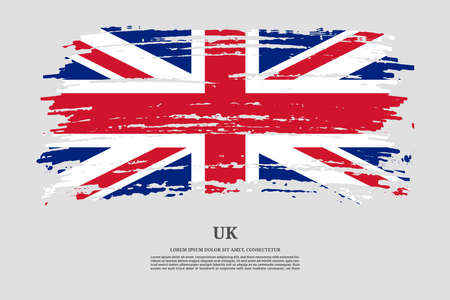 British flag with brush stroke effect and information text poster, vector